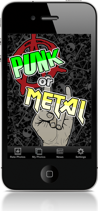 The Punk or Metal start screen